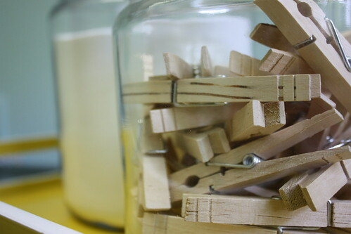 jar of clothespins