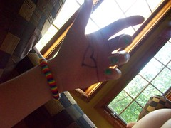 always on my mind (kerosene eyes.) Tags: light shadow sun writing rainbow hand heart bracelet