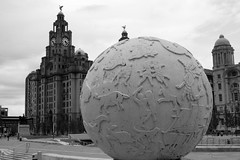 We can build a world of wonder (baz_baziah) Tags: blackandwhite bw liverpool blackwhite rush pierhead liverbuilding hemispheres blackwhitephotos