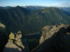 Looking N across I90 with Defiance on the left and Bandera to the right. Lonely summit cairn on the right.