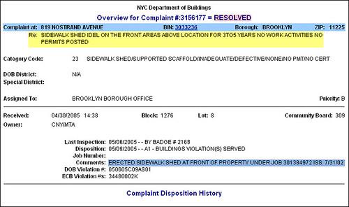 Recent Complaint on 819 Nostrand Ave