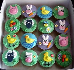 More Farm Animals Cupcakes (specialcakes/tracey) Tags: birthday bunny animals pig cupcakes duck sheep farm chick bee novelty bumble