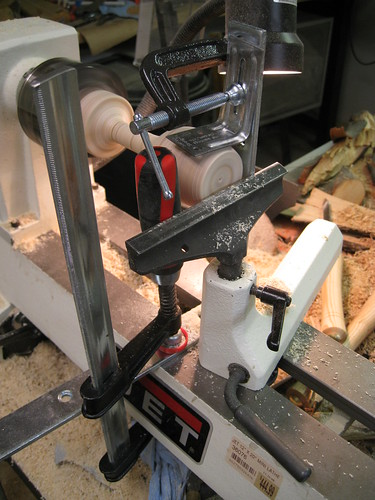 goofy support rig hacked together on lathe