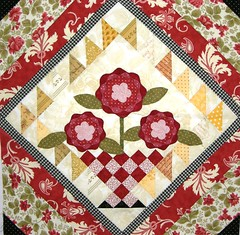 Forever Flowers Quilt - Block 1 (Cherry's Fiber Obsession) Tags: wool thread focus quilt sewing fabric cotton quilting quilted patchwork batting ruler binding borders rotary batik appliqu fusible blanketstitch needleturn rawedge wonderunder