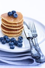 Pancakes with fresh blueberries (La ciliegina) Tags: morning blue white fruit pancakes breakfast sweet homemade honey ricotta blueberries tuki nigella colazione lacilieginasullatorta