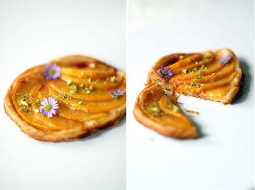 Vanilla spice poached yellow peach tarts