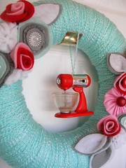 Hostess Yarn Wreath with Retro Stand Mixer by KnockKnocking