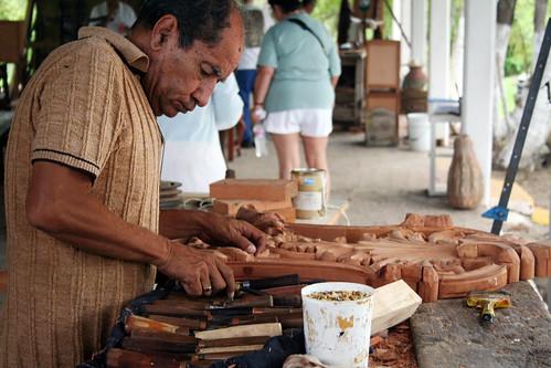 Mazatlan Pottery Stop - Woodcarver at Work