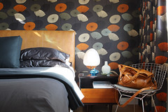 Dandelion clocks mid-century bedroom design (The 10 cent designer) Tags: fabric sanderson dandelionclocks loriandrewsinteriors