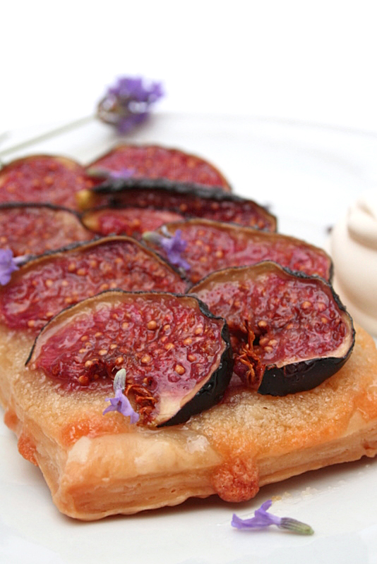 Fig tart, Almond & Lavender Sauce