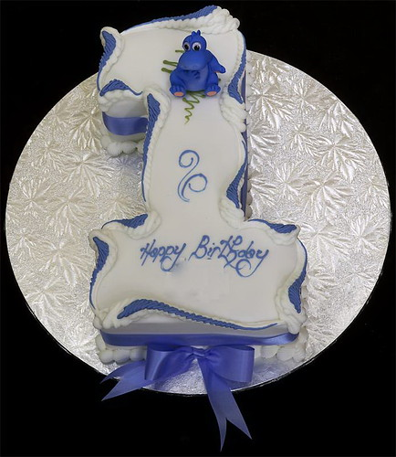 Figure One Birthday Cake with Plastic Dinosaur