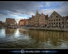 Gent : Graslei - Belgium (Erroba) Tags: city sky clouds photoshop canon reflections river boats rebel belgium belgique tripod belgi sigma tips remote 1020mm erlend ghent gent hdr graslei leie nwn cs3 3xp photomatix medeivel tonemapped tonemapping xti 400d erroba robaye erlendrobaye ivoverbruggen michaelrathmann