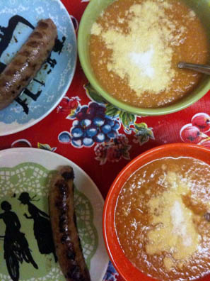 Turkey Sausages and Tuscan Pumpkin Bean Soup