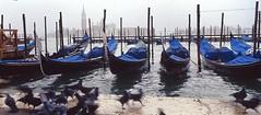 (Martyn61) Tags: travel blue venice italy blur film water boats fuji slow lagoon hasselblad xpan 45mm