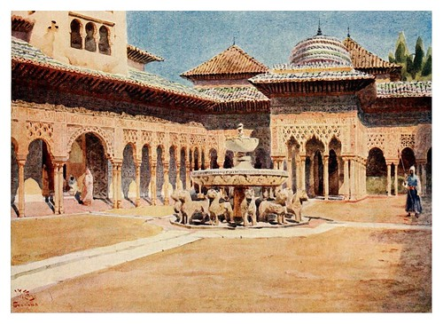 028-Córdoba- La Alhambra patio de los Leones-Cathedral cities of Spain 1909- W.W Collins
