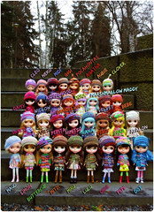 my whole Blythe family at the mo' (megipupu) Tags: family doll handmade blythe megipupu
