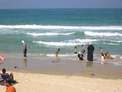 okay, I guess I got carried away with the swimming muslims (upyernoz) Tags: sea people beach israel telaviv mediterranean palestine jaffa  mediterraneansea