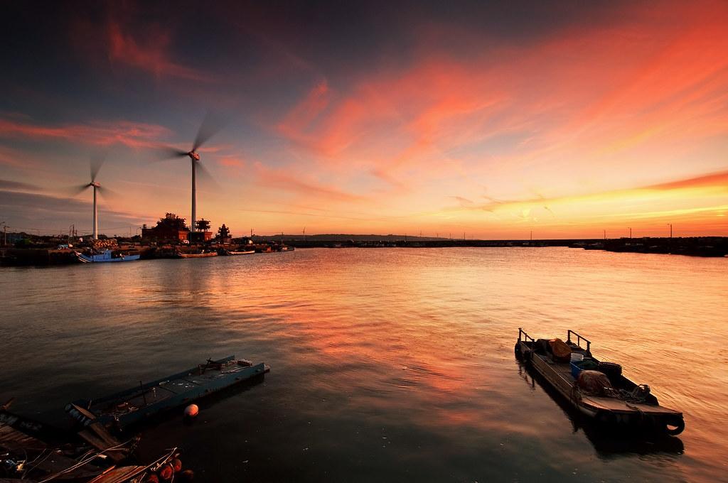 海山漁港 紅霞