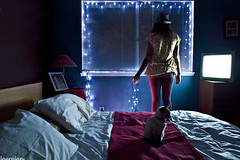 Bedroom Blues (lauralani) Tags: longexposure blue woman alone nikond100 kitty christmaslights 365 bedroomwindow lauradeangelis lauralani cantbelievekittysatstillforthatlong
