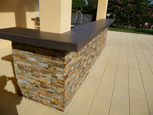 Perfect Custom Stacked Stone Outdoor Ktichen Counters With Outdoor Stone Bars