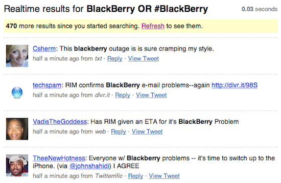 Blackberry outage search results on Twitter