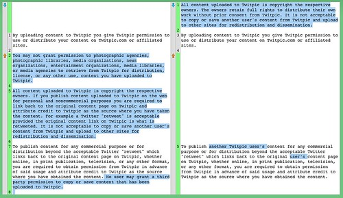 Diff of change in Twitpic's terms of service