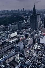 Rainy Shinjuku (hidesax) Tags: urban cloud west building rain japan skyline tokyo nikon shinjuku downtown cityscape rainy tokyotower exit nikkor hdr shinjukugyoen d90 3xp nttdocomotower nikond90 nikkor2470mmf28ged hidesax