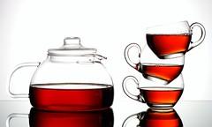 Tea for Three (Karen_Chappell) Tags: stilllife orange white 3 cup glass three tea drink beverage cups teapot teacup liquid