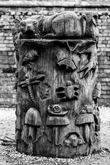 Nature carving (Chris O'Brien Photography) Tags: uk dunhammassey 5dmk3 5d3 canon ef70200mmf28isiiusm eos5dmarkiii trafford england unitedkingdom gb bw blackandwhite mono carving wood carved log nature art sculpture creative