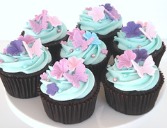 Pretty Aqua Cupcakes (Glorious Treats) Tags: california pink flowers blue butterfly cupcakes aqua pretty purple chocolate folsom decorated glorioustreats