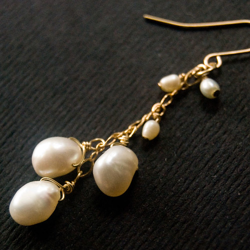 Dangling Freshwater Pearl Drops and 14kt Gold