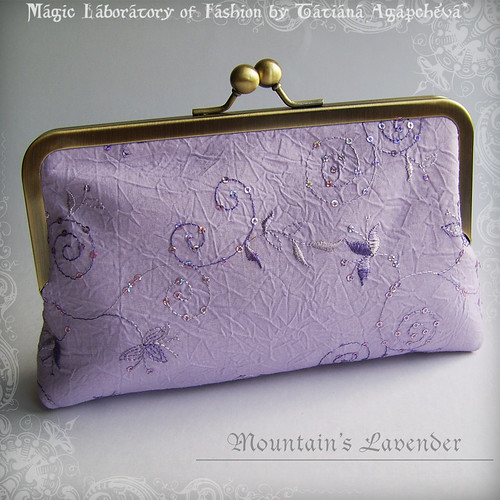 MOUNTAIN LAVENDER Luxury Embroidered Cotton Clutch with Antique Brass Frame