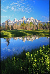 Teton Range and reflection, early morning