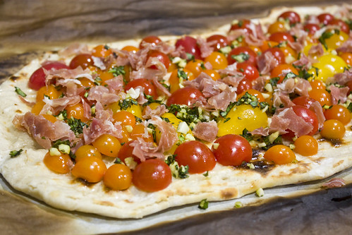 Cherry Tomatoes Proscuitto basil and garlic