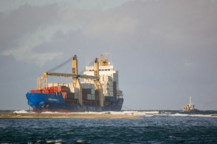 Freight ship grounded on Mulinuu reef