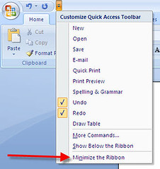 How to Minimize the Ribbon in Word 2007 (IvanWalsh.com) Tags: pages worldofwarcraft secondlife tables spelling l troubleshooting grammar mmo templates wordperfect indexes lindendollars word2007 word2003 trackchanges virtualgoods virtualcurrency freetemplates wordtips wordtipsandtricks normaldotnormaldotx mmgo