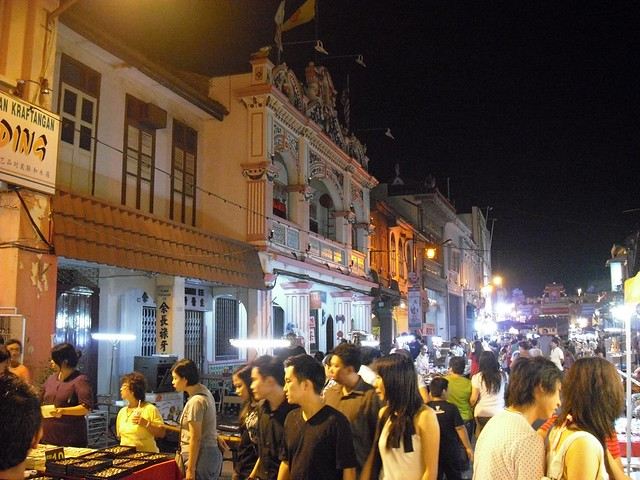 Chinese Malaysians shopping in one of Malacca's night markets