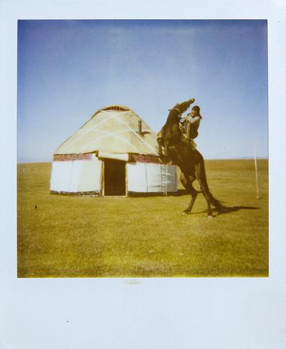 Polaroid in Song-Kol lake Kyrgyzstan
