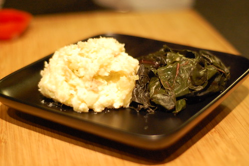Leek Mashed Potatoes and Rainbow Chard.