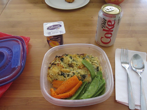 Spaghetti squash gratin, veggies, yogurt from home, Diet Coke from the vending machine - $1.25