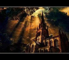 Darkness falls (or the birds are back!) (Steel Steve) Tags: storm halloween church birds composite bravo darkness rays allhallows somethingwickedthiswaycomes mywinners englishgothic superaplus aplusphoto platinumheartaward vosplusbellesphotos