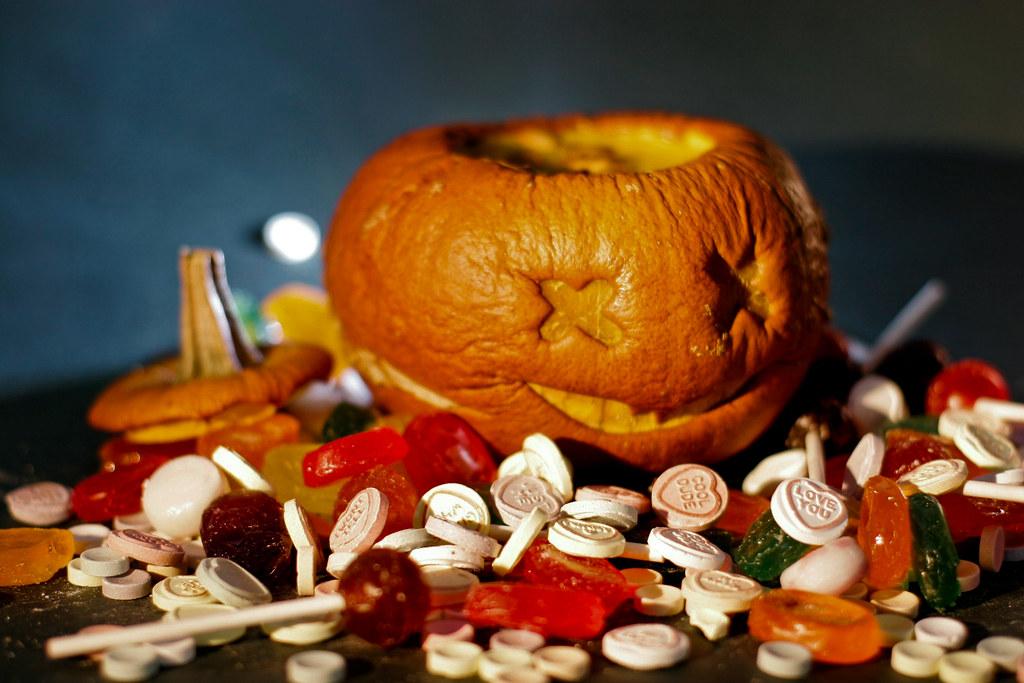 Halloween pumpkin soup served in a roasted pumpkin.