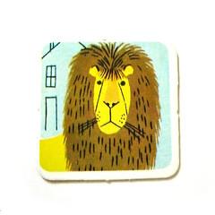 Vintage memory game lion card (Wooden donkey) Tags: illustration vintage lion retro