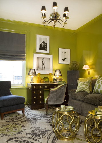 Ideas for small spaces: Bright green + gray + small tables
