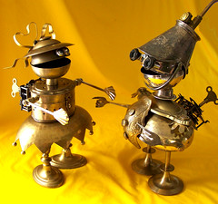 robot assemblage sculpture  *  BRENDA and COMMANDER CUPCAKE (Reclaim2Fame) Tags: sculpture metal vintage robot couple assemblage mixedmedia etsy recycle brass foundobject metalsculpture humanfigure recycledmaterial robotassemblage brasssculpture vintageobject steampunkart steampunksculpture robotcharacter willwagenaar williamwagenaar steampunkassemblage metalrobots steampunkcreature