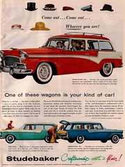 Studebaker (saltycotton) Tags: family car vintage magazine golf automobile president ad hats husband advertisement 1950s wife studebaker 1956 pelham stationwagon packard pinehurst parkview theamericanhome