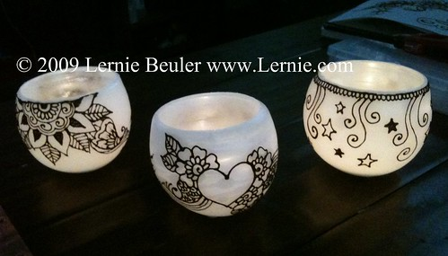 Hennaed hand-dipped luminary candles by Lernie