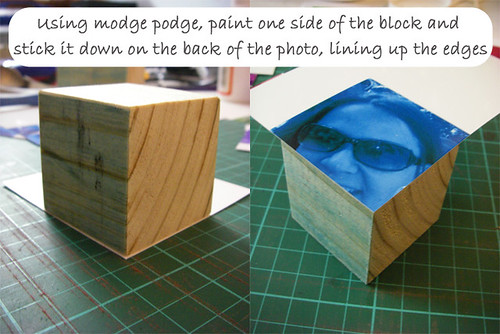 8- Sticking photos to blocks
