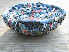 recycled plastic basket (sarahracha) Tags: green spiral basket recycled woven coil weave plasticbags plarn