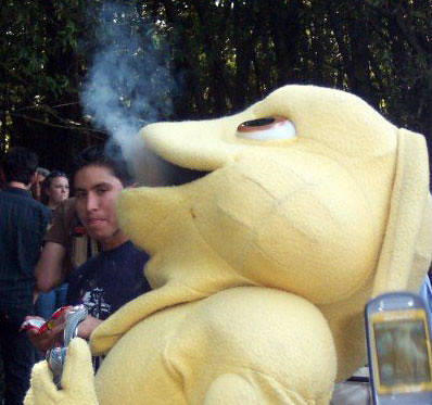 Yes, this really is the UCSC mascot blowing pot smoke.  We took 4/20 pretty seriously there.
